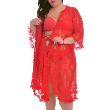 Chic Solid Color Cut Out 3/4 Sleeve Plus Size Lace Cardigan For Women