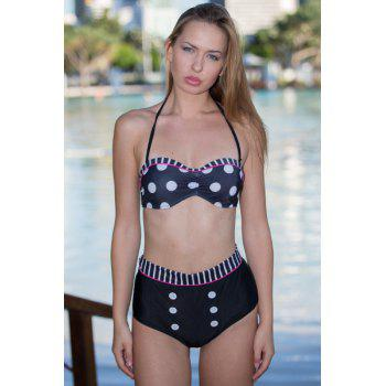 Polka Dot Pin Up Cute High Waist Bathing Suit - BLACK L
