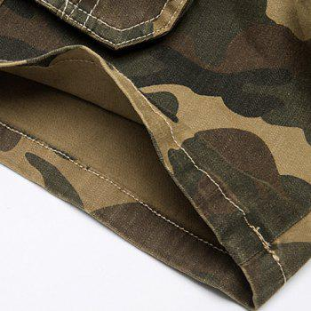 Camo Print Multi-Pocket Loose Fit Straight Leg Zipper Fly Men's Cargo Shorts - CAMOUFLAGE 30