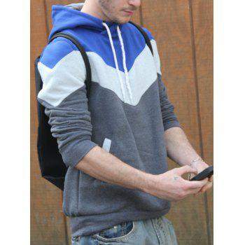 Slimming Trendy Hooded Personality Color Splicing Long Sleeves Men's Thicken Hoodies - GRAY M
