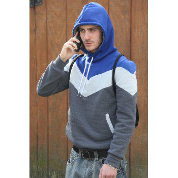 Slimming Trendy Hooded Personality Color Splicing Long Sleeves Men's Thicken Hoodies - GRAY GRAY