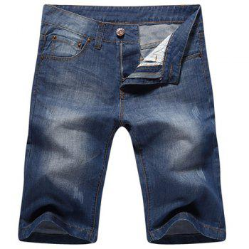 Casual Zip Fly Straight Legs Denim Shorts For Men