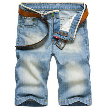 Fashion Straight Legs Zip Fly Denim Shorts For Men