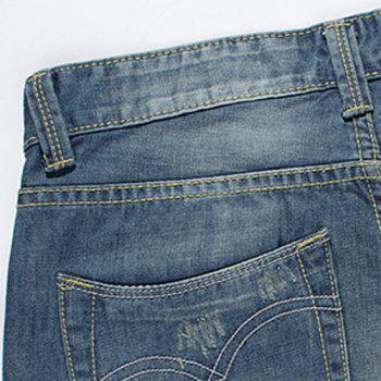 Casual Summer Ripped Zip Fly Straight Legs Denim Shorts For Men - 30 30