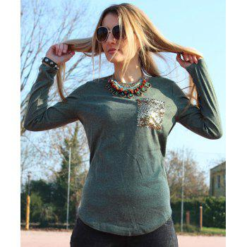 Chic Long Sleeve Scoop Collar Sequined Women's T-Shirt - BLACKISH GREEN M
