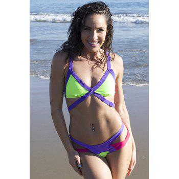 Sexy Wide Strap V-Neck Color Block Backless Hollow Out Design Swimwear - GREEN/PURPLE M