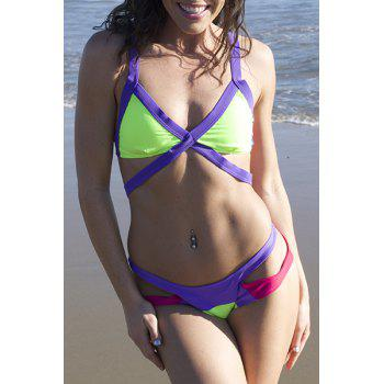 Sexy Wide Strap V-Neck Color Block Backless Hollow Out Design Swimwear - GREEN AND PURPLE M