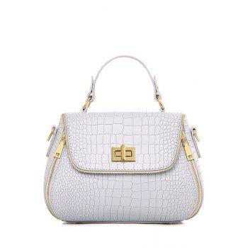 Retro Hasp and Crocodile Print Design Tote Bag For Women
