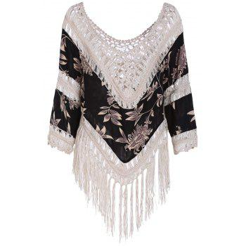Stylish Printed Hollow Out Tassels Spliced T-Shirt For Women