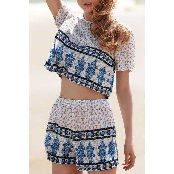 Fashion Short Sleeve Printed Cropped T-Shirt and Shorts Twinset For Women