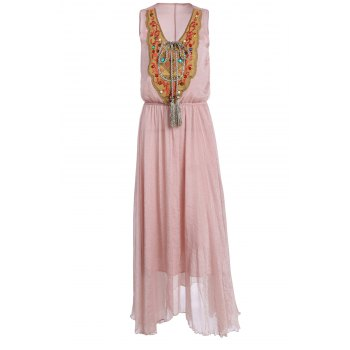 Silky Embroidered Jewelled Women's Breezy Dress