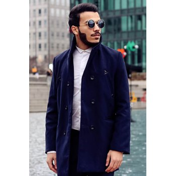 Knitted Lapel PU Leather Spliced Multi-Button Slimming Long Sleeves Men's Woolen Blend Thicken Peacoat - CADETBLUE XL