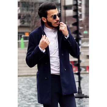 Knitted Lapel PU Leather Spliced Multi-Button Slimming Long Sleeves Men's Woolen Blend Thicken Peacoat - CADETBLUE 2XL