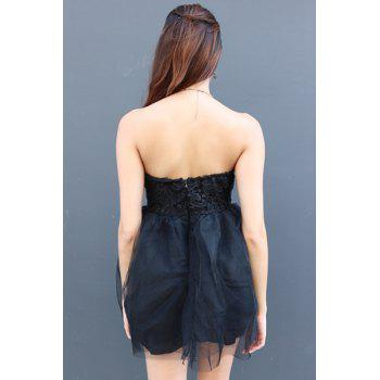 Sexy Strapless Sleeveless Solid Color Ball Gown Lace-Up Women's Dress - BLACK S