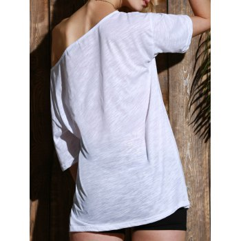 Casual Women's 1/2 Sleeve Loose-Fitting Solid Color T-Shirt - WHITE M