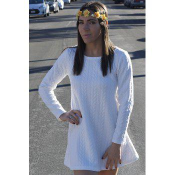 Graceful Long Sleeve Scoop Neck Knitted Pure Color Women's A-Line Dress - WHITE M