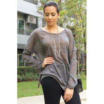 Women's Scoop Neck Asymmetrical Long Sleeve Sweater - DEEP GRAY L