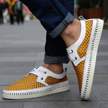 Simple Mesh and Lace-Up Design Casual Shoes For Men - YELLOW YELLOW