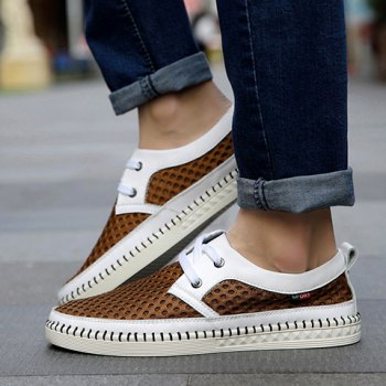 Simple Mesh and Lace-Up Design Casual Shoes For Men - BROWN BROWN