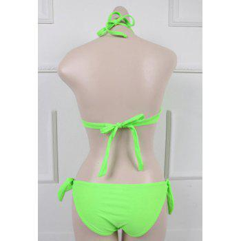 Sweet Women's Halterneck Candy Color Three Piece Swimsuit - GREEN XL