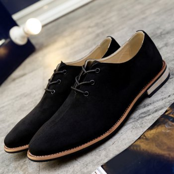 Fashionable Lace-Up and Suede Design Men's Casual Shoes - BLACK 42
