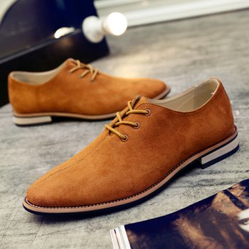Fashionable Lace-Up and Suede Design Men's Casual Shoes - EARTHY 39
