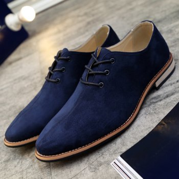 Fashionable Lace-Up and Suede Design Men's Casual Shoes - DEEP BLUE 44