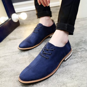 Fashionable Lace-Up and Suede Design Men's Casual Shoes - DEEP BLUE 42