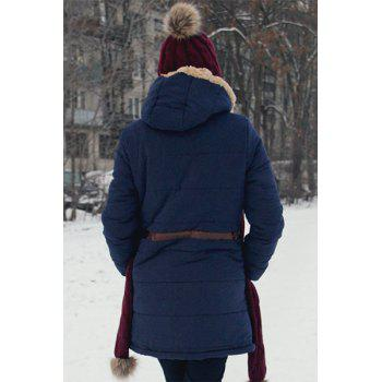 Casual Drawstring Design Hooded Thicken Long Sleeve Coat For Women - CADETBLUE L