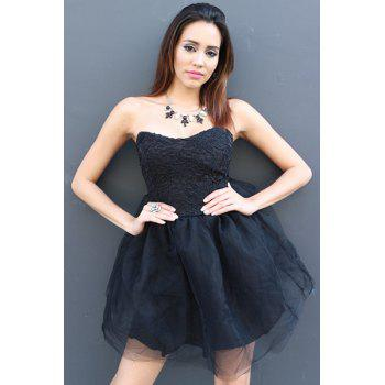 Sexy Strapless Sleeveless Solid Color Ball Gown Lace-Up Women's Dress - BLACK XL