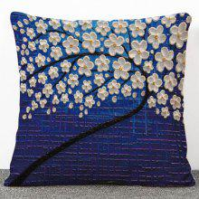 Stylish 3D Floral Print Pattern Flax Pillow Case(Without Pillow Inner)