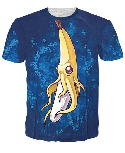 3D Cartoon Banana Print Short Sleeves Character T-Shirt - COLORMIX L