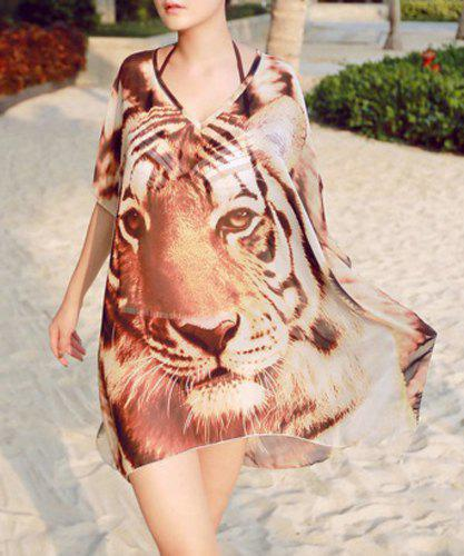 Trendy V-Neck Tiger Print Loose Cover-Up For Women