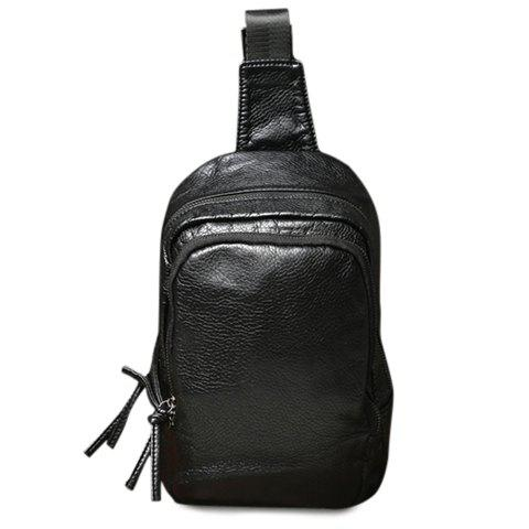 Casual PU Leather and Black Colour Design Men's Messenger Bag - BLACK