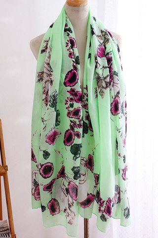 Chic Flower and Skull Pattern Chiffon Scarf For Women - LIGHT GREEN