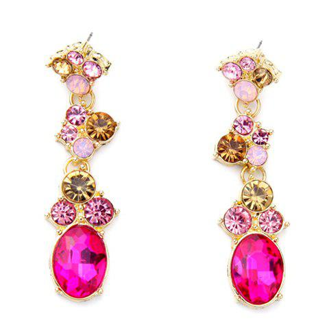 Pair of Faux Crystal Rhinestone Oval Earrings - GOLDEN