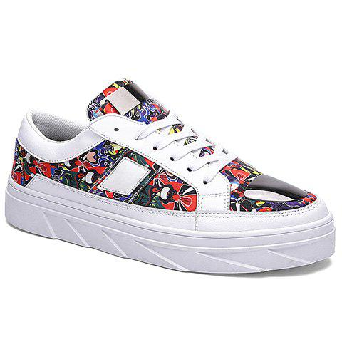 Fashion Printed and Lace-Up Design Casual Shoes For Men - RED/WHITE 40