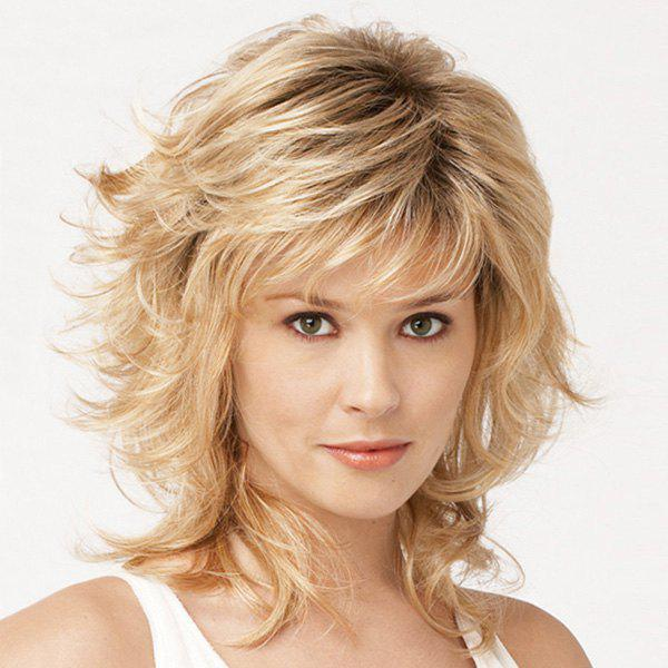 Trendy Side Bang Medium Layered Shaggy Curly Mixed Color Capless Real Human Hair Wig For Women - COLORMIX
