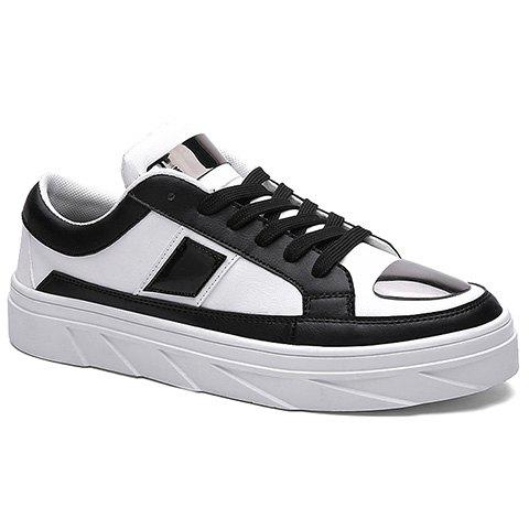 Fashionable Color Block and Lace-Up Design Casual Shoes For Men - WHITE/BLACK 42