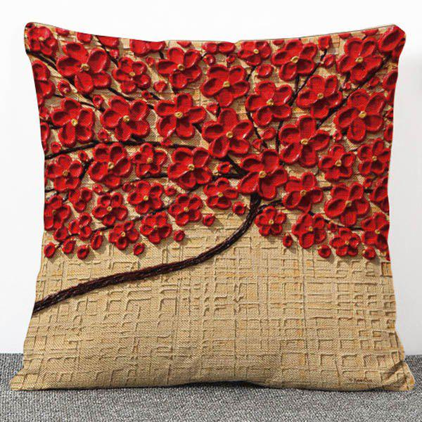 Fashionable 3D Red Flowers Pattern Flax Pillow Case(Without Pillow Inner)