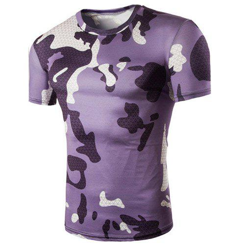 Camo Argyle Print Air Permeable Round Neck Shorts Sleeves Men's T-Shirt - COLORMIX M
