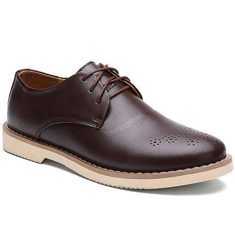 Simple Solid Color and Lace-Up Design Dress Shoes For Men - BROWN 42