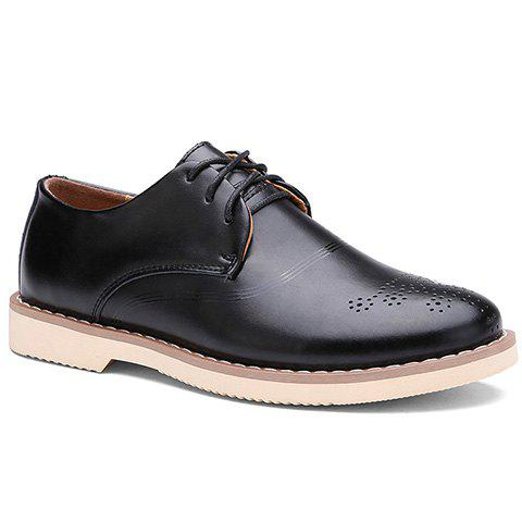 Simple Solid Color and Lace-Up Design Dress Shoes For Men