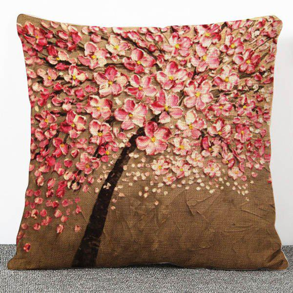 High Quality Flax 3D Flowers Pattern Pillow Case(Without Pillow Inner)