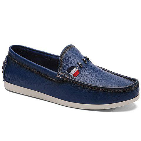 Simple Slip-On and Solid Color Design Casual Shoes For Men - DEEP BLUE 42