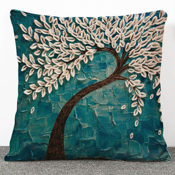 Chic Quality 3D Trees Pattern Flax Pillow Case(Without Pillow Inner) - GREEN