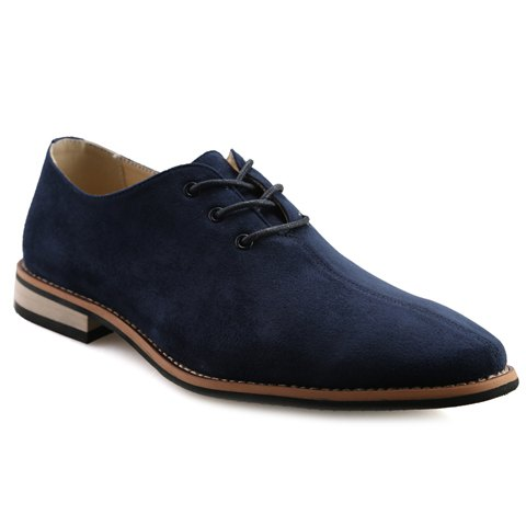 Fashionable Lace-Up and Suede Design Men's Casual Shoes - DEEP BLUE 39