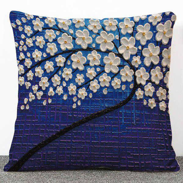 Stylish 3D Floral Print Pattern Flax Pillow Case(Without Pillow Inner) -  COLORMIX