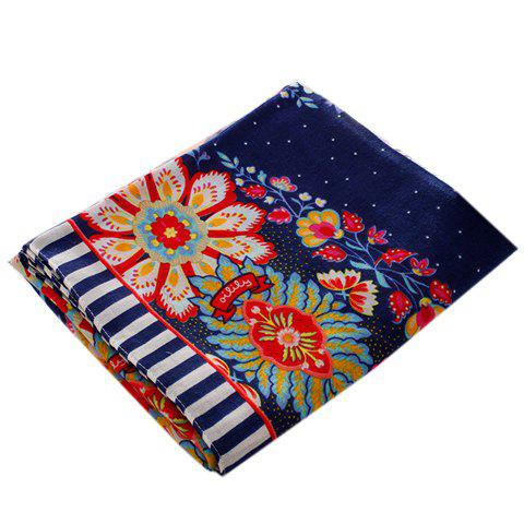 Chic Handpainted Ethnic Flower Pattern Fringed Scarf For Women - CADETBLUE