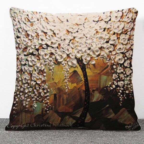 Hot Sale 3D Oil Painting Tree Pattern Flax Pillow Case(Without Pillow Inner) - COLORMIX